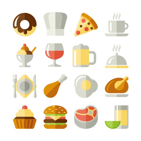 化卡通图标矢量素材,甜甜圈,披萨,咖啡,冰淇淋,红酒,果汁,食物,餐具
