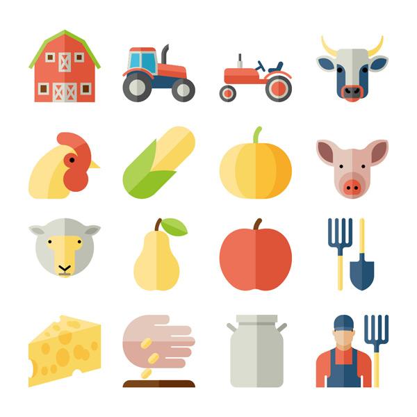 农民,食物,牛插图,羊,蔬菜,动物,猪,收获,鸡,食物,水果,农具,扁平化