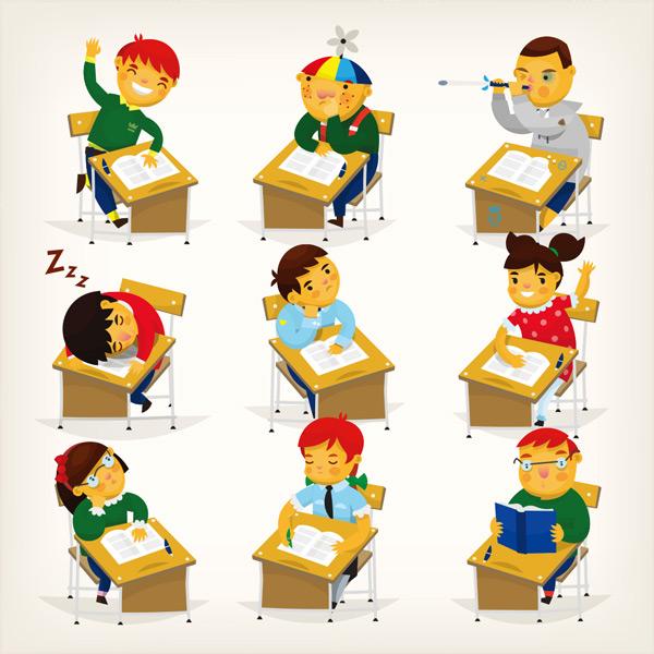 不同行为的学生们卡通矢量素材,学校,书本,男孩,孩子,童年,教室,书