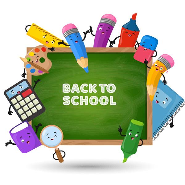 卡通黑板上的彩色铅笔盒学习文具矢量素材,黑板,彩色铅笔,计算器,书本