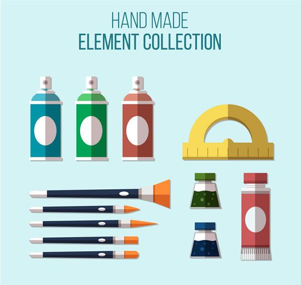 0 点 关键词: 12款扁平化绘画工具矢量素材,喷漆,尺子,颜料,画笔