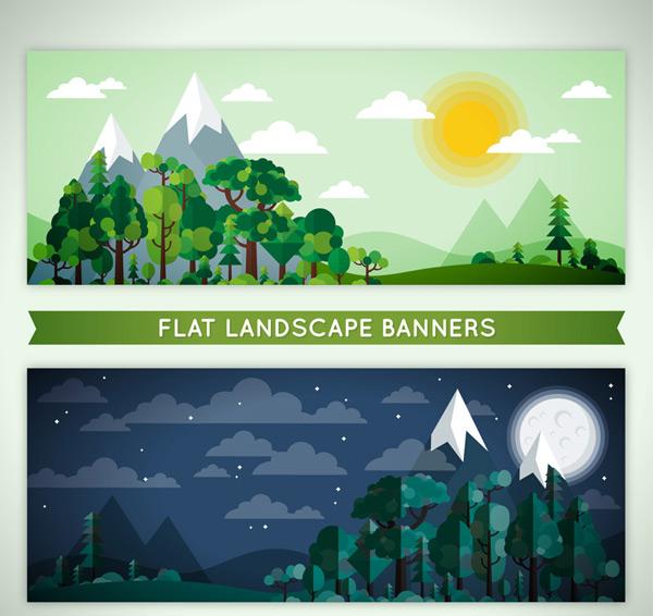 0 点 关键词: 2款扁平化森林的白天和黑夜风景矢量图,雪山,太阳,山