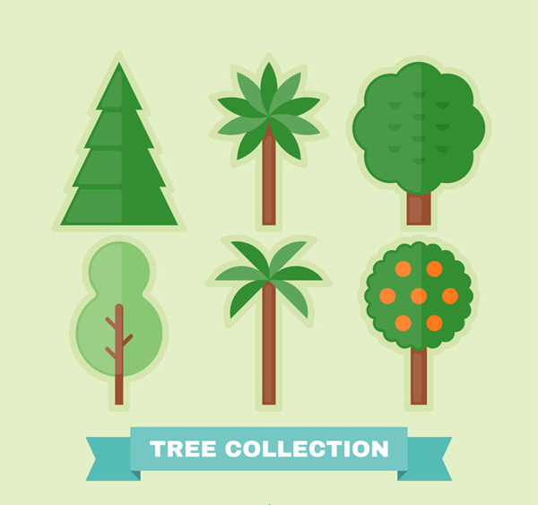 6款创意绿色树木矢量素材,松树,椰子树,果树,杨树,树,扁平化,植物