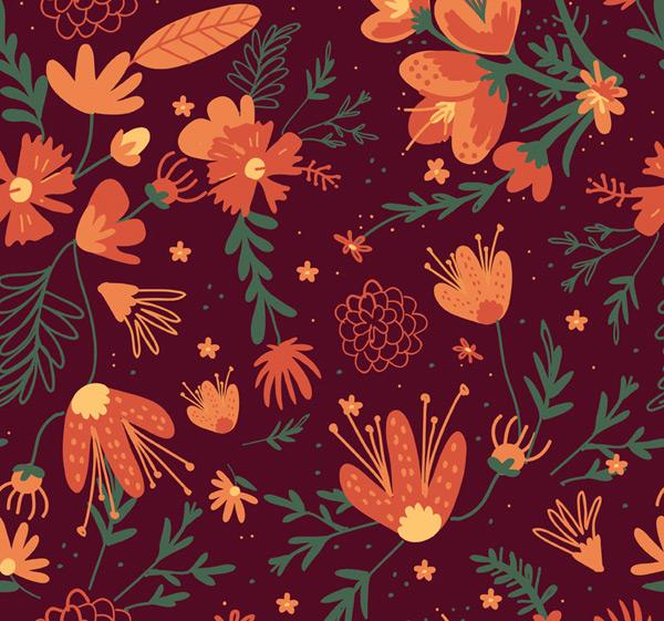 橙色花朵无缝背景