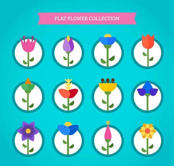关键词: 12款扁平化花朵设计矢量素材,郁金香,花卉,扁平化,花朵,植物