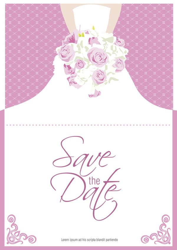 捧花新娘折页卡片