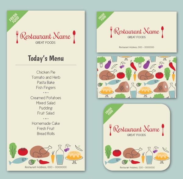 彩绘餐厅菜单卡片
