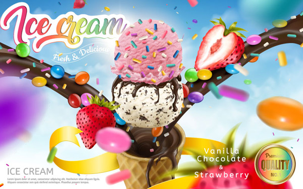 彩色冰淇淋海报