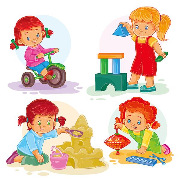 小女孩,孩子,幼儿园,儿童,童年,骑车,搭积木,堆沙堡,陀螺,玩耍,手绘