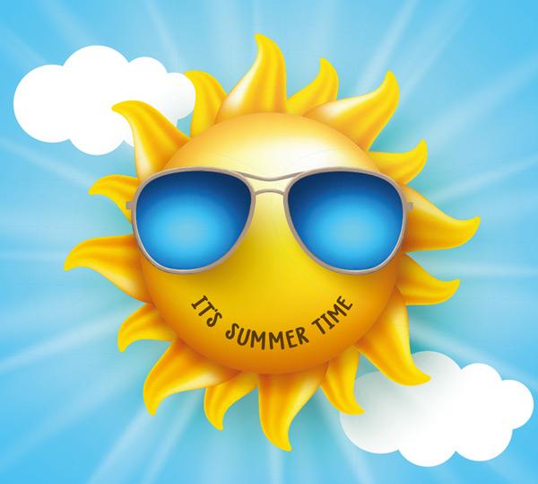 背景,光线,阳光,白云,云朵,太阳,墨镜,夏天,夏季,黄色卡通,动漫,可爱