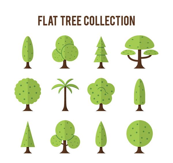 款扁平化树木设计矢量素材,松树,杨树,椰子树,果树,扁平化,树木,植物