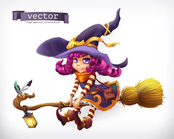 坐在扫把上的小女巫矢量素材,飞天扫把,女巫,紫色帽子,灯笼,卡通人物