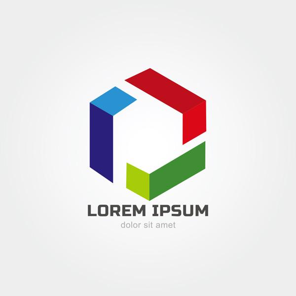 六边形,几何,多彩折纸,创意标志,商业标志,标志设计,logo,企业标志