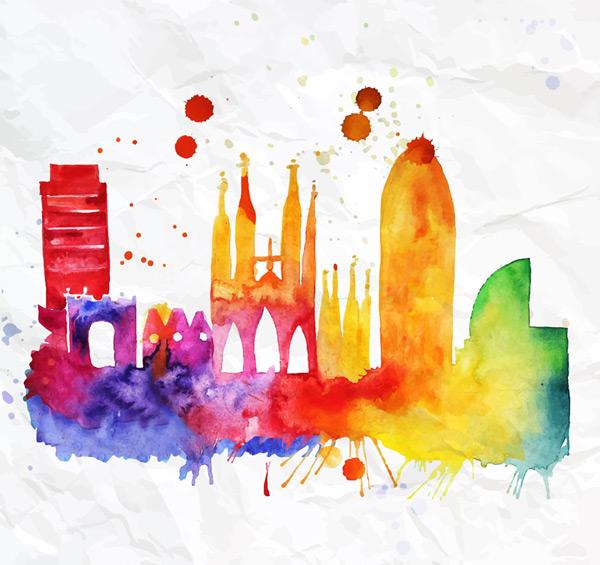 彩绘巴塞罗那建筑