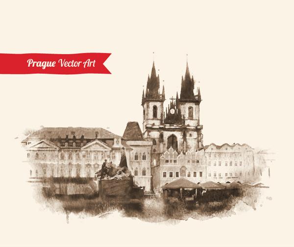 0 点 关键词: 古典欧洲建筑水墨画矢量素材,布拉格,建筑,风景,水墨画