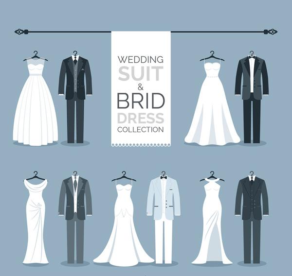 素材分类: 矢量服饰所需点数: 0 点 关键词: 5组创意婚礼服装设计图片
