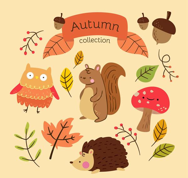 橡子,松鼠,刺猬,猫头鹰,蘑菇,表情,枫叶,叶子,秋季,树叶,动物,植物