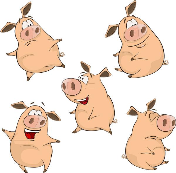 可爱卡通猪矢量