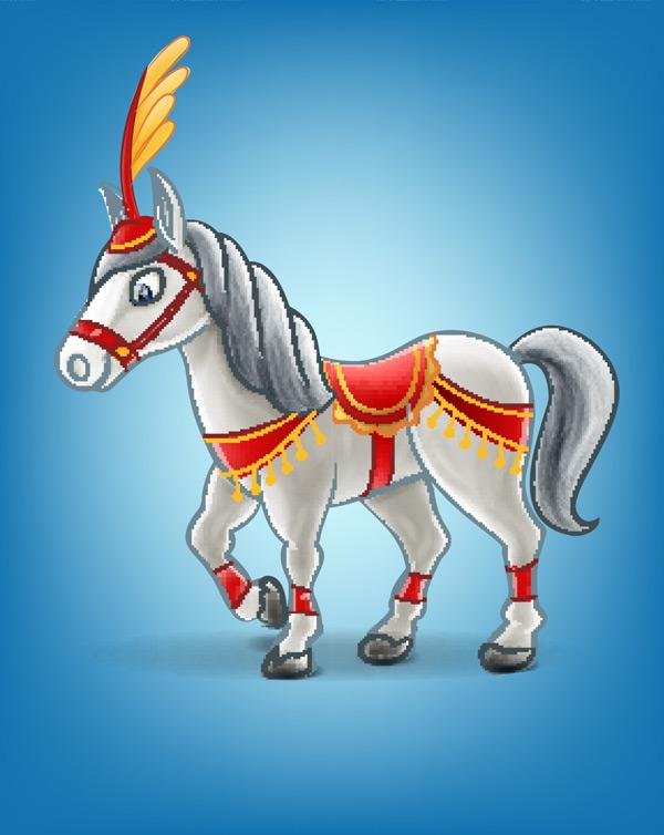 0 点 关键词: 蓝色背景上的卡通白色小马矢量素材,马,动物,马戏团
