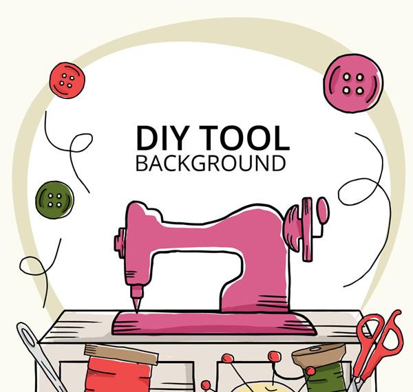 线团,扣子,剪刀,针,线,diy,缝纫,手工,缝纫机,矢量图,ai格式 下载文件