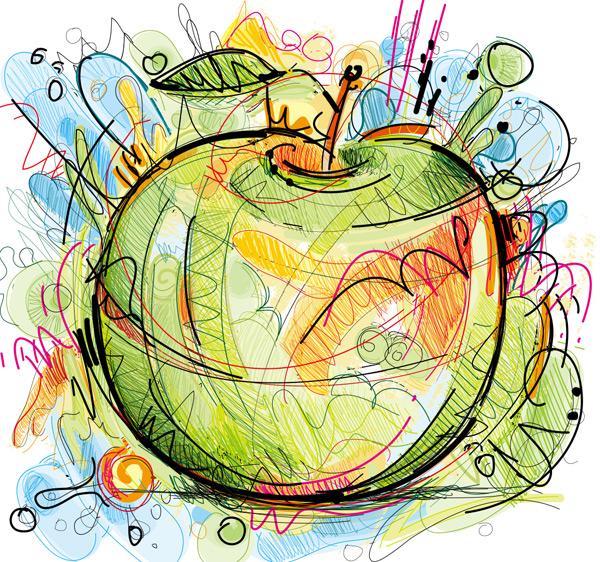 青苹果,水果,食物,手绘,涂鸦,抽象,水彩,线条,艺术,绘画,素描,矢量