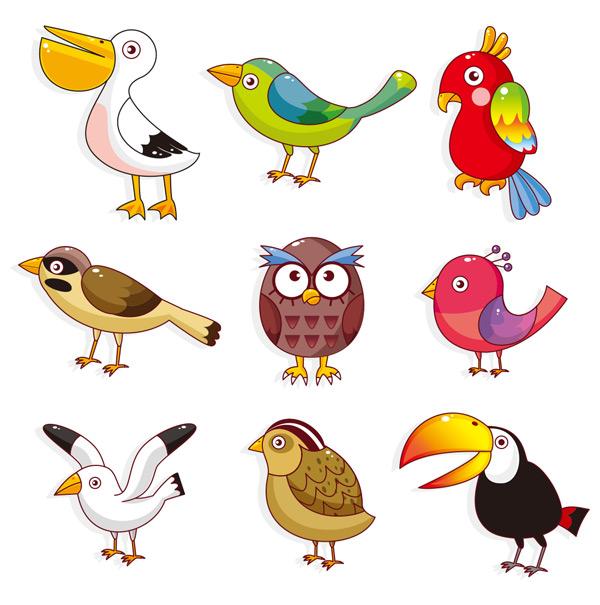 孔雀,白鹤,乌鸦,多彩,小鸟,鸟类,飞禽,动物,图标,标志,卡通,可爱,矢量
