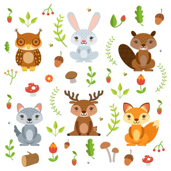 兔子,猫头鹰,松鼠,狐狸,鹿,榛子,蘑菇,树叶,花朵,植物,背景,可爱,卡通