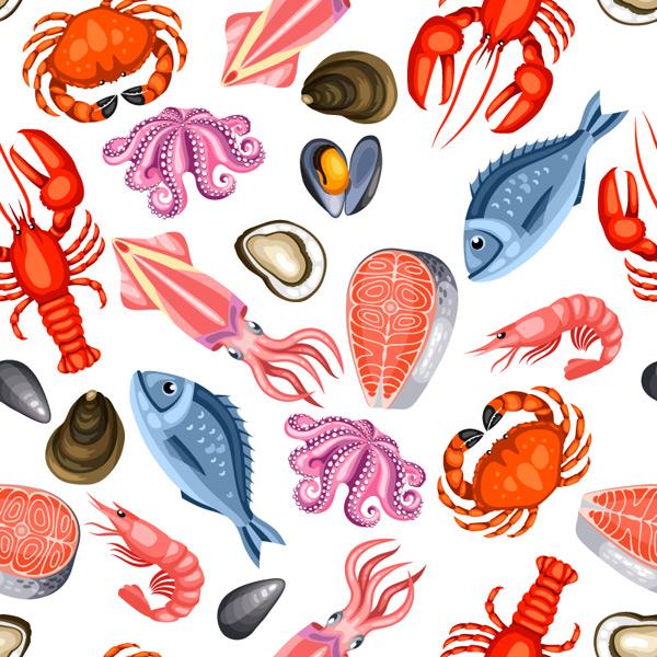 海鲜食物无缝背景矢量图,鱼排,螃蟹,贝壳,章鱼,龙虾,鱿鱼,海洋,动物