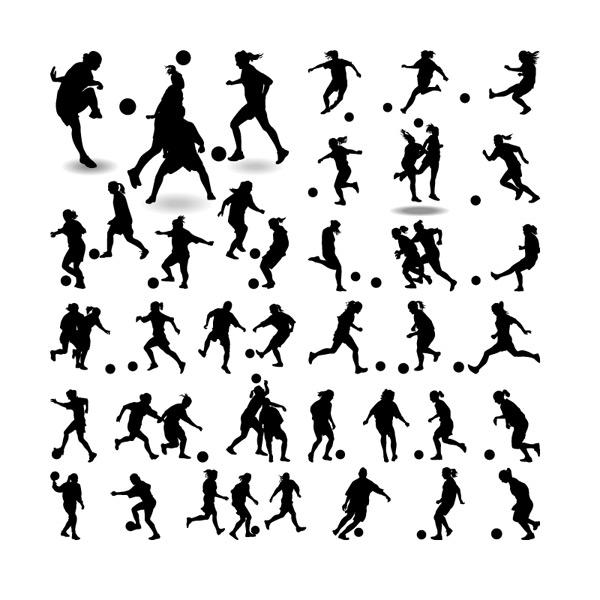 女子,足球,人物,运动员,男子,剪影,体育,矢量图,eps格式 下载文件特别