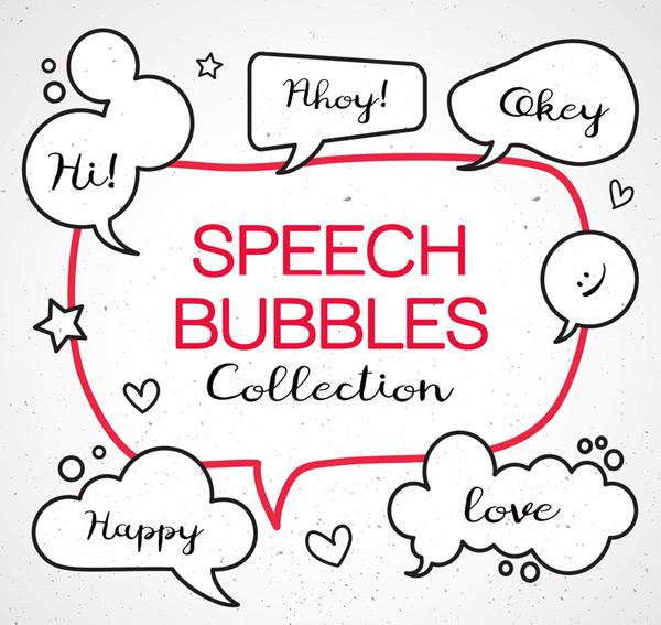 6款手绘语言气泡矢量素材,星星,爱心,笑脸,手绘,语言气泡,对话框