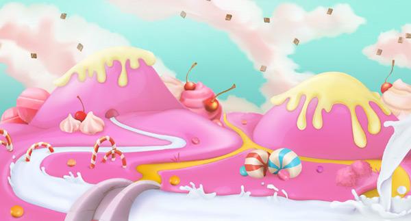 粉红色,甜美,背景,景观,牛奶,蛋糕,设计,场景,美味,可爱,梦幻,生日