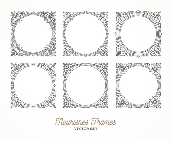 六款黑色正方形精美花纹边框矢量素材,黑色,线条,正方形,花纹,圆形