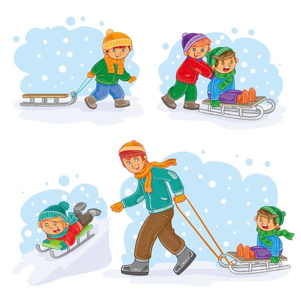 滑雪玩耍卡通人物