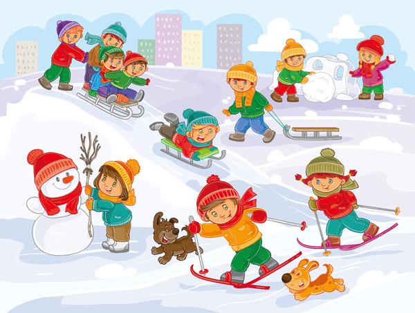 滑雪,玩耍,学校,幼儿园,雪人,孩子,可爱,卡通,男孩,儿童,插图,动漫