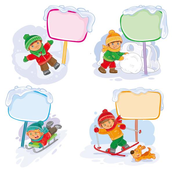 小狗,雪橇,滑雪,玩耍,孩子,可爱,卡通,男孩,儿童,插图,动漫,矢量素材