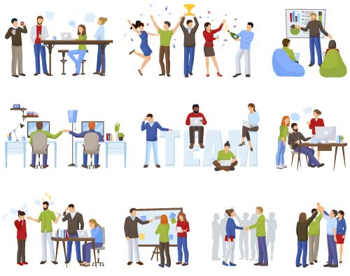 矢量职业人物所需点数: 0 点 关键词: 扁平化职场人物场景矢量素材