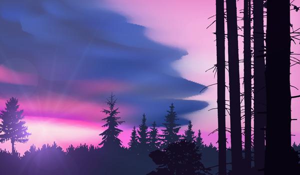 紫色,水彩,大自然,水墨,阳光,森林,树木,剪影,景观,风景画,艺术,矢量