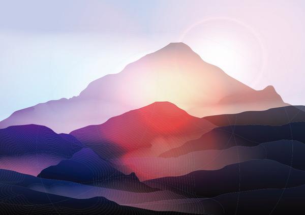 渐变,水彩,大自然,水墨,阳光,朝阳,夕阳,山峰,山峦,剪影,景观,风景画