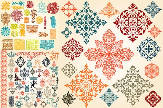 彩色花纹,古典纹样,印第安图腾