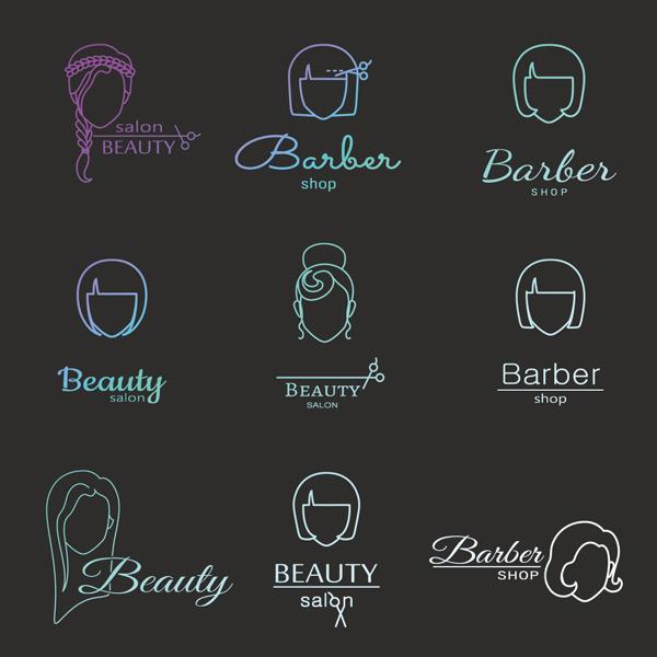 线型女性头部标志
