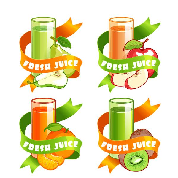 0 点 关键词: 四款彩色卡通水果果汁饮品矢量素材,玻璃杯,水果,切开