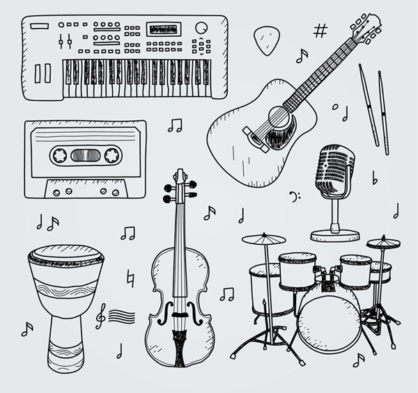0 点 关键词: 7款手绘乐器设计矢量素材,电子钢琴,磁带,鼓,吉他,电