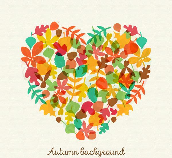 秋季落叶组合爱心