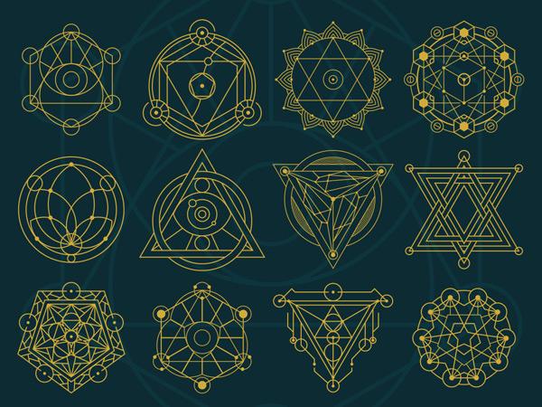 点 关键词: 多款金色神秘线条几何图案矢量素材,几何,图案,图形,组合