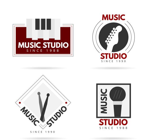 矢量logo图形所需点数: 0 点 关键词: 4款时尚音乐工作室标志矢量图