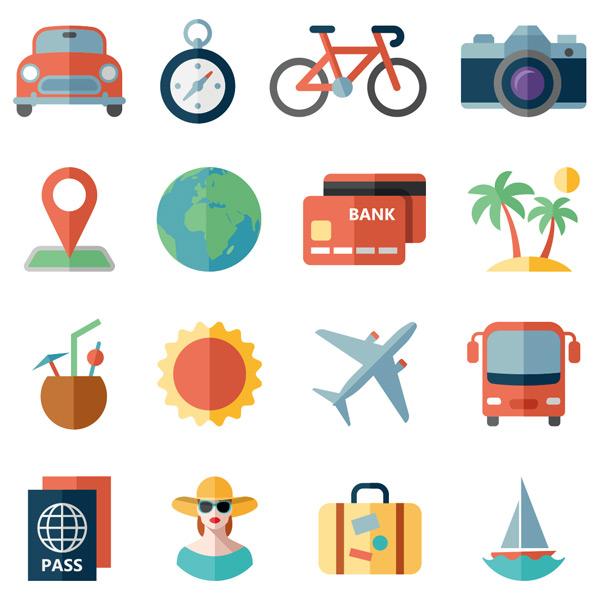 飞机,大巴车,美女,旅行箱,帆船,扁平化,卡通,旅游,旅行,图标集,矢量