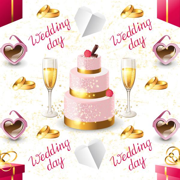 香槟与蛋糕背景