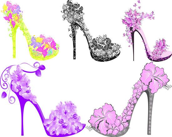 0 点 关键词: 创意装饰高跟鞋矢量素材,创意装饰,高跟鞋设计,蝴蝶花纹