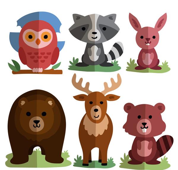 素材分类: 矢量卡通动物所需点数: 0 点 关键词: 6款扁平化可爱动物