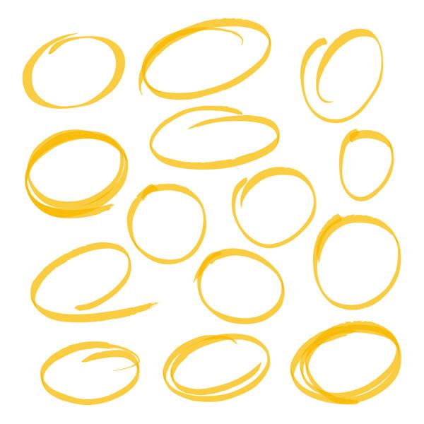 多款黄色圆形边框装饰矢量素材,黄色,圆形,大头笔,水彩笔,涂鸦,边框